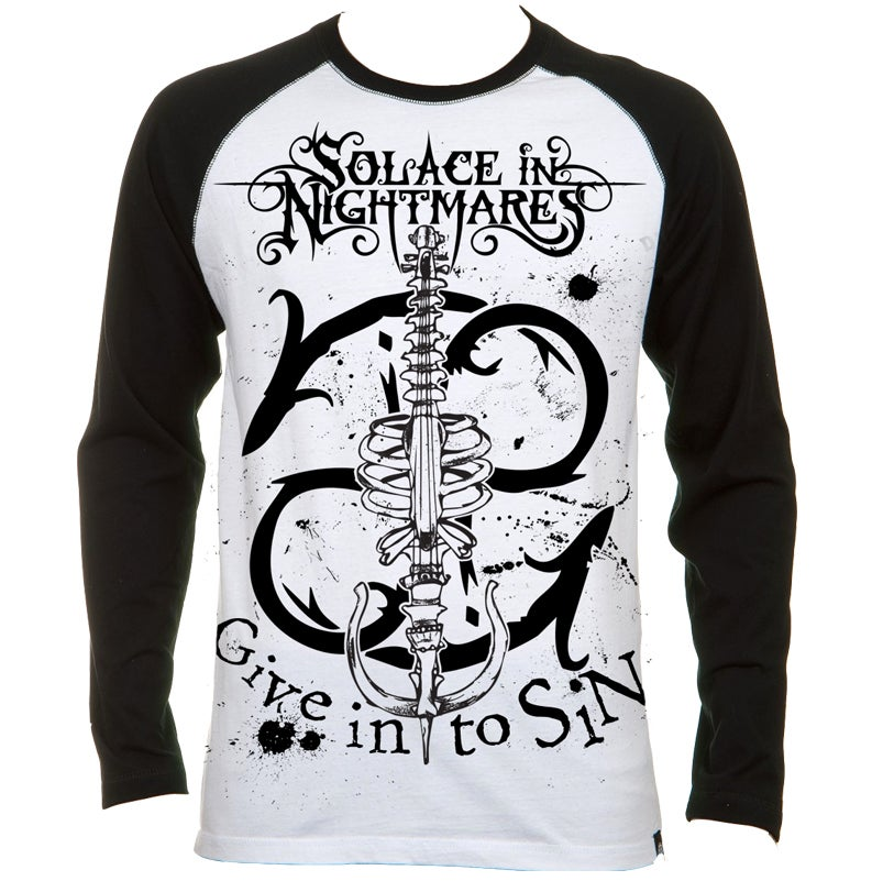 Image of 'The SiNphony Of Bones' Black/white baseball T-Shirt (full length sleeves)