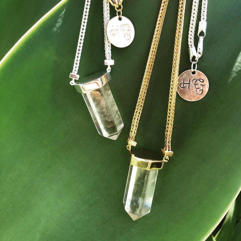 Image of Statement quartz point necklace