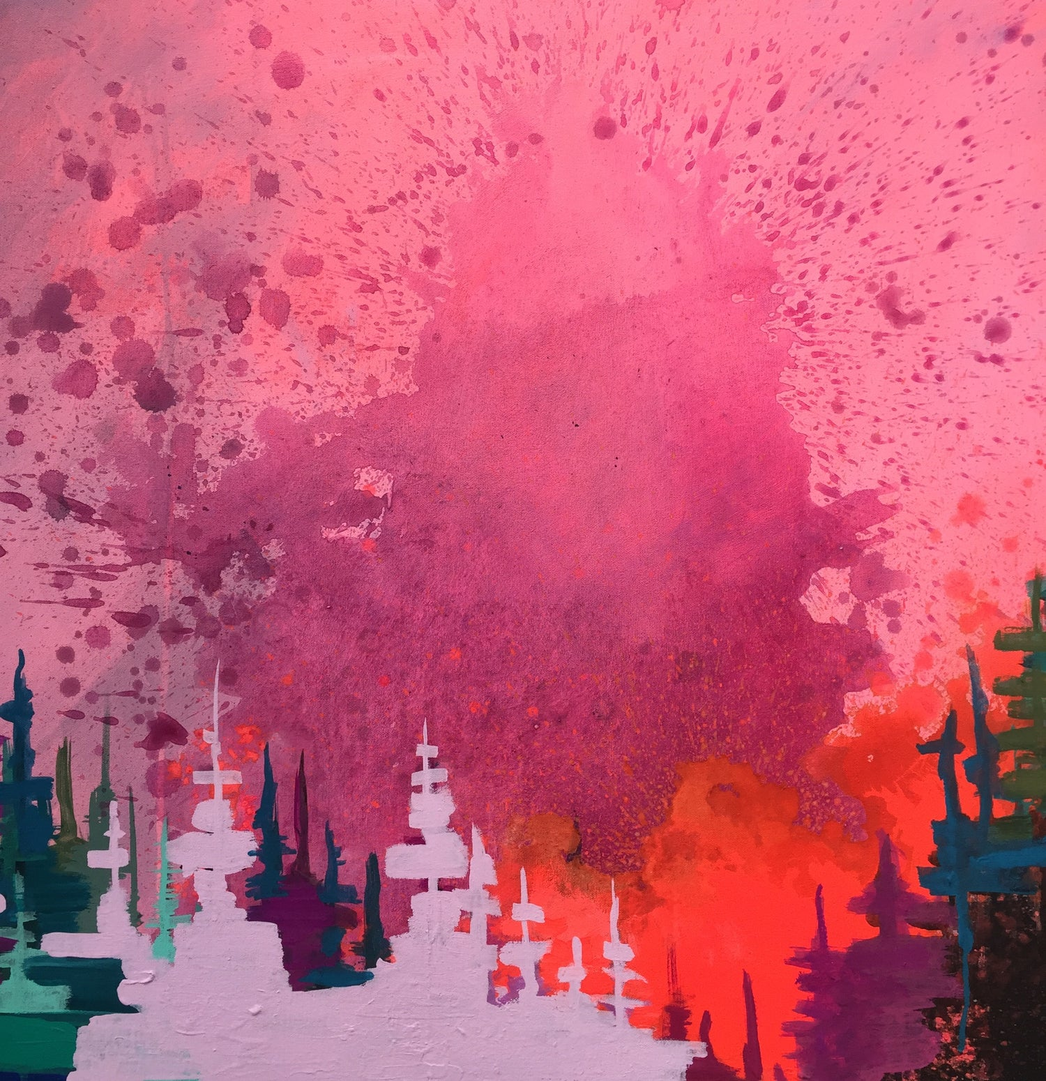 Image of Pink Sky Night No. 2 (Lilac & Violet trees, Vermilion Horizon)//2015