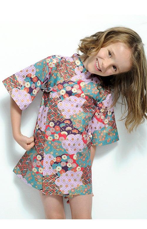 Image of Vestido morado estampado japonés