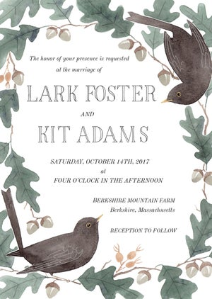 Image of Blackbirds & Acorns WEDDING INVITATION SUITE WITH CUSTOM HAND LETTERED NAMES