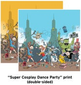 """Image of """"Super Cosplay Dance Party"""" 12x12 print (double-sided)"""