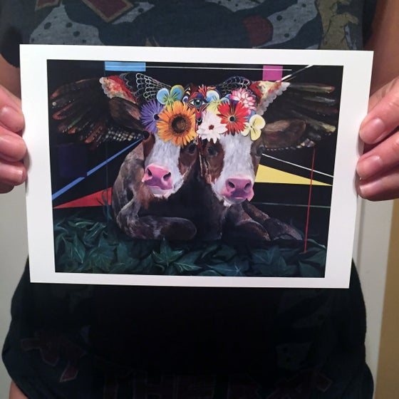 "Image of ""Sacred Cows Have Two Sacred Heads"" 5""x7"" Mini Giclee Fine Art Print"