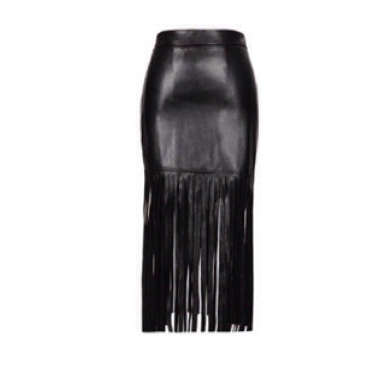 Image of PU Leather Tassel Skirt