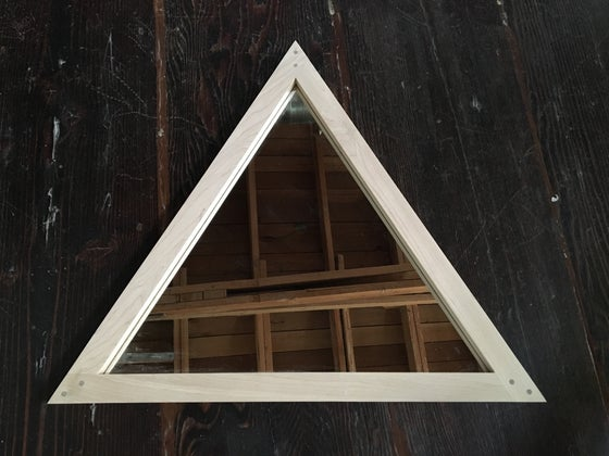 Image of White oak triangle mirror