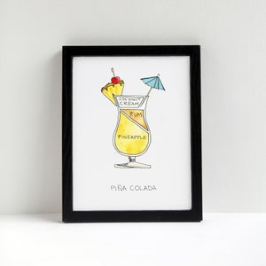 Image of Pina Colada Cocktail Diagram Print