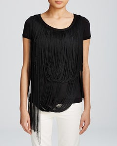 Image of ElIE TAHARI -ANAIS FRINGE BLACK TOP
