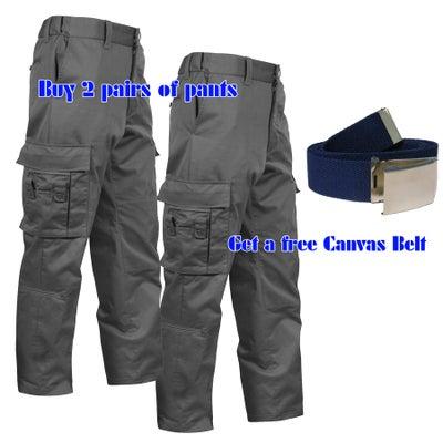 "Image of 2 Pairs of Black Men's EMT Pants Package (Free Canvas Belt)  ~  32"" inseam"