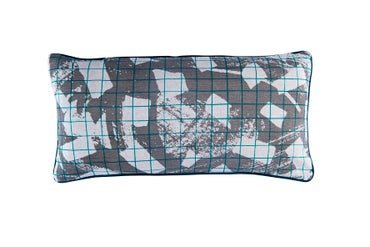 Image of 'Texture Grid' Cushion- Teal with Grey/ Grey with Teal