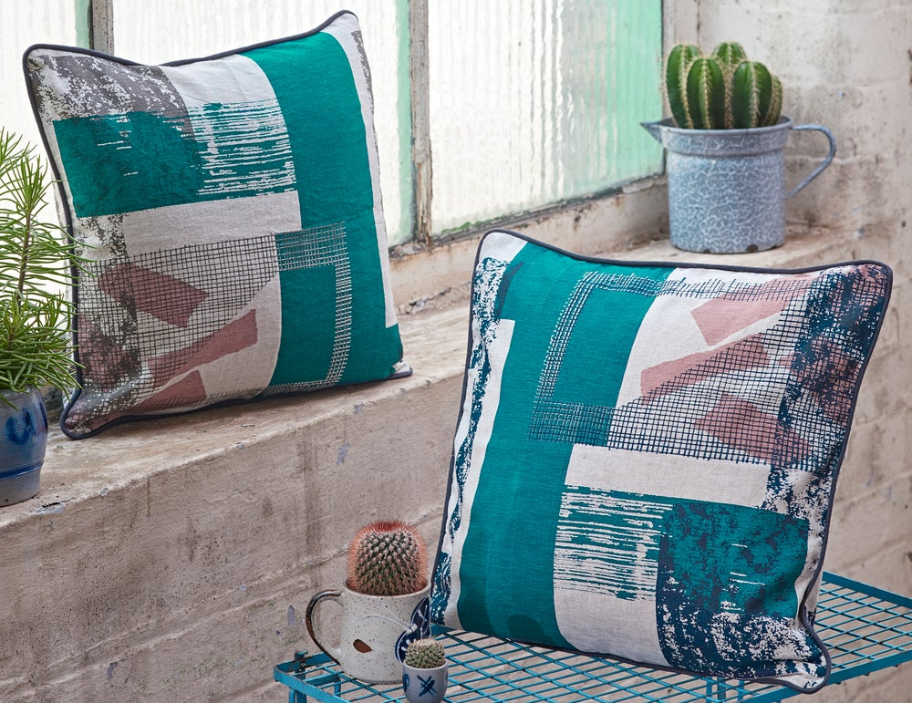 Image of 'Structure Grid' Cushion- Denim Blue / Teal