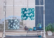 Image of 'Texture Grid' Lampshade- Teal & Grey / Grey & Teal