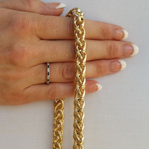 "Image of GOLD Chain Luxury Strap - Large Braided Chain - 3/8"" (10mm) Wide - Choose Length & Hooks/Clasps"
