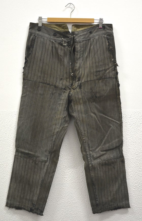 Image of 1900'S FRENCH salt n' pepper stripped PANTS patched & FADED 1