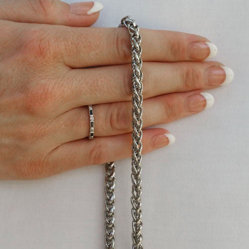 "Image of NICKEL Chain Luxury Handbag Strap - Braided Chain - 1/4"" (6mm) Wide - Choose Length & Hooks/Clasps"
