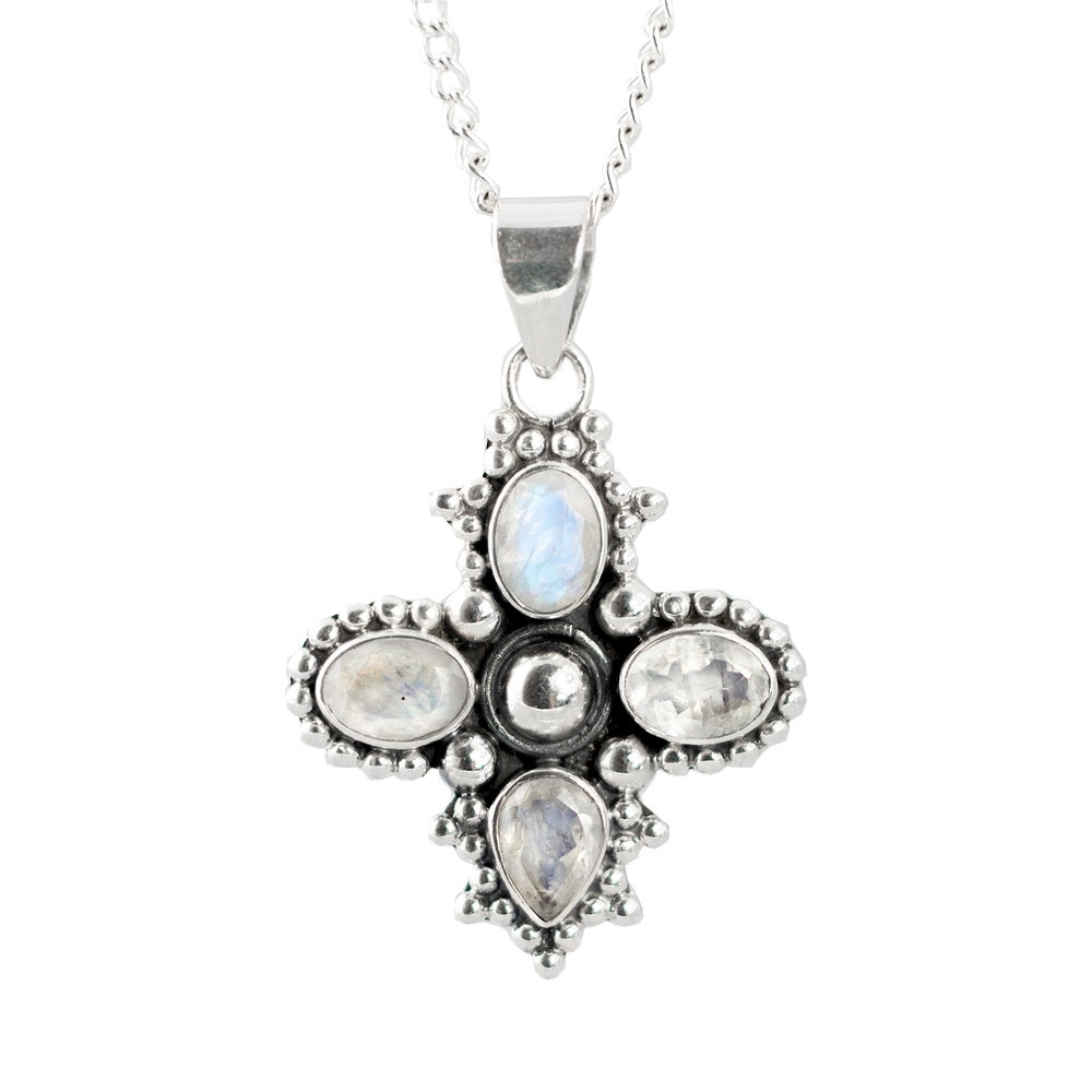 Image of Moonstone Cross Sterling Silver Pendant