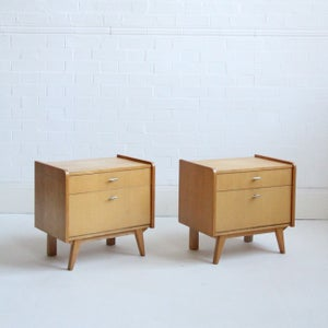Image of mid-century beech bedside tables