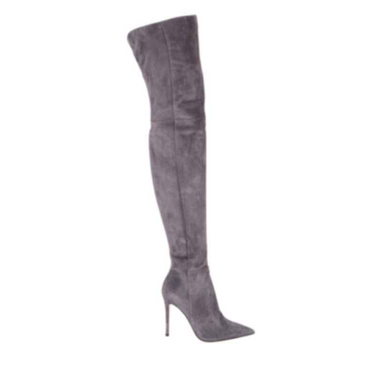 Image of Gray Suede Thigh High Boot