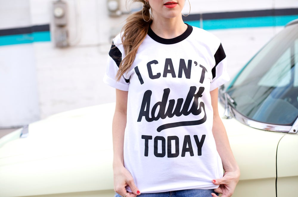 Image of I CAN'T ADULT TODAY (CONTRAST TEE)