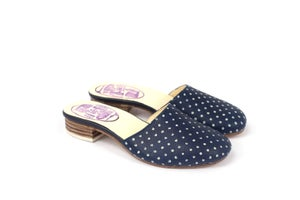 Image of Indigo blueprint Slippers / dots