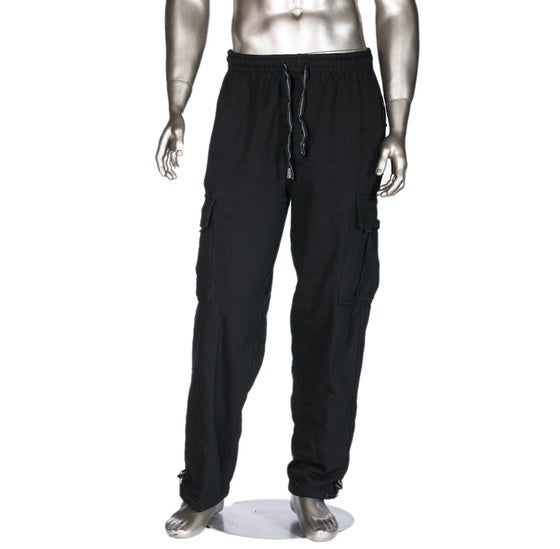 Image of Black Heavyweight Fleece Cargo Pants