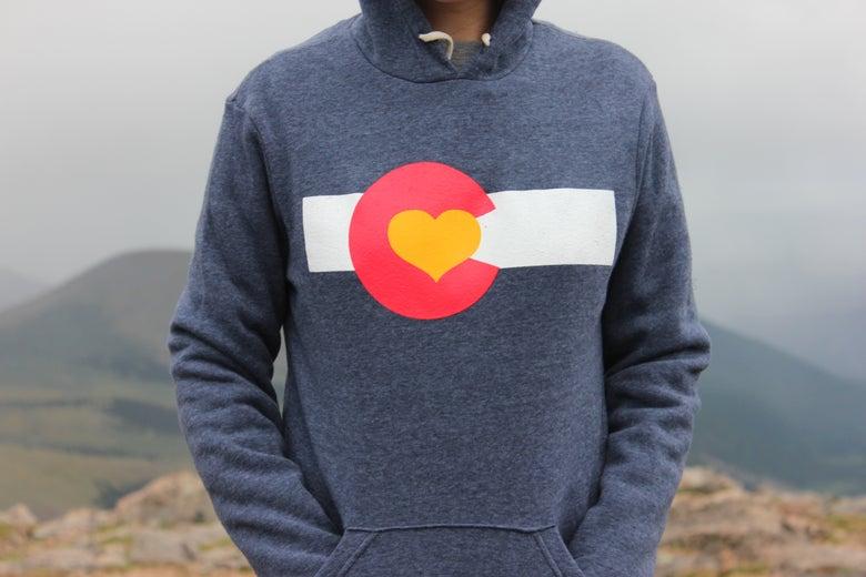 Image of Colorado Love Pullover Hoodie-Navy