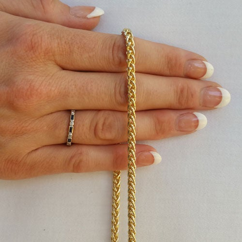 "Image of GOLD Chain Luxury Strap - Mini Braided Chain - 3/16"" (4mm) Wide - Choose Length & Hooks/Clasps"