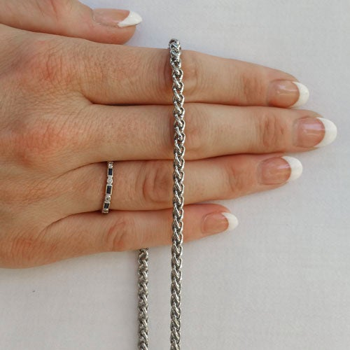 "Image of NICKEL Chain Luxury Strap - Mini Braided Chain - 3/16"" (4mm) Wide - Choose Length & Hooks/Clasps"