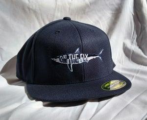 Image of Navy flat bill flex fit hat