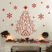 Image of Wording Christmas tree with snow flakes wall decal for Christmas wall and window decal