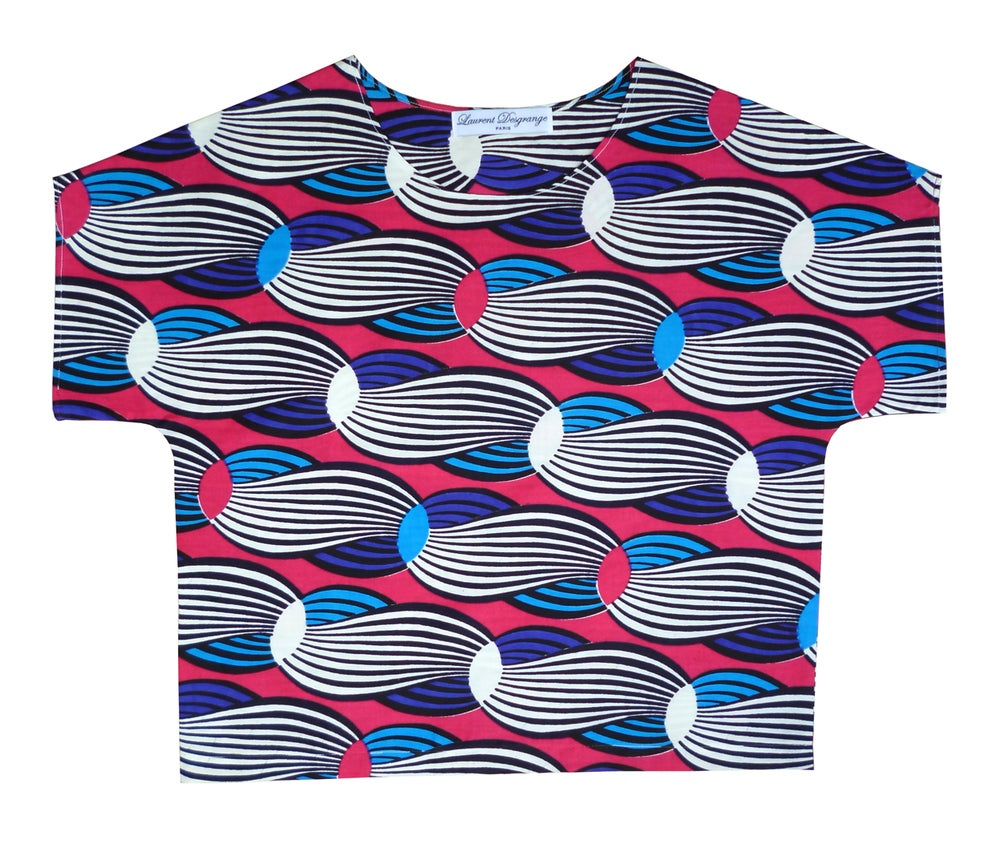 Image of AFRICAN SEVENTIES PSYCHEDELIC WAX BOXY CROP TOP