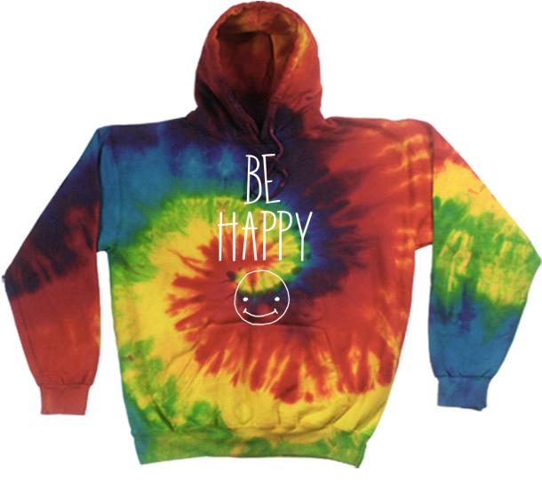 Image of Be Happy Tie Dye Hoodie Preorder