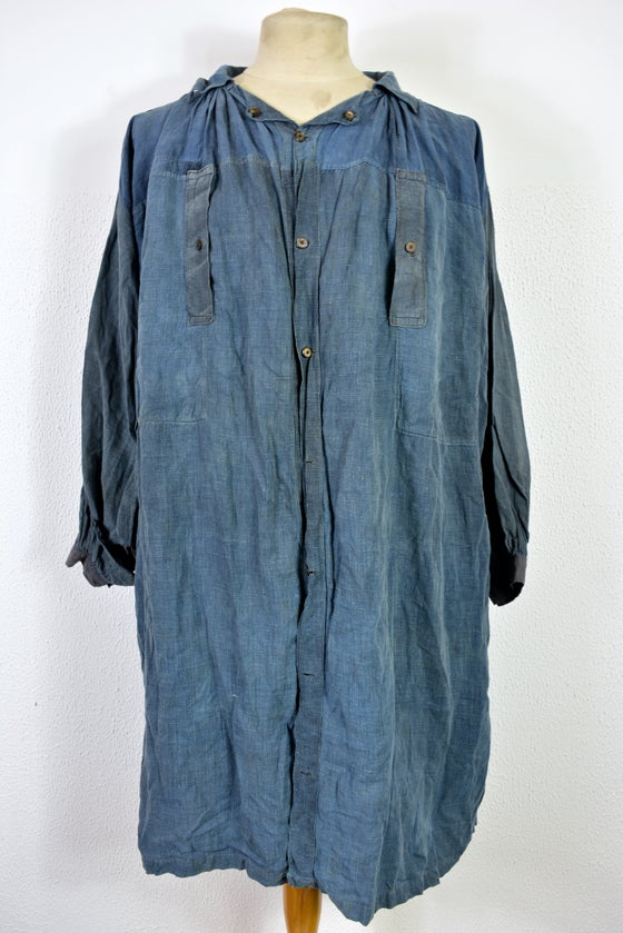 "Image of 1890'S FRENCH INDIGO LINEN ""blouse de maquignon"" BIAUDE patched"