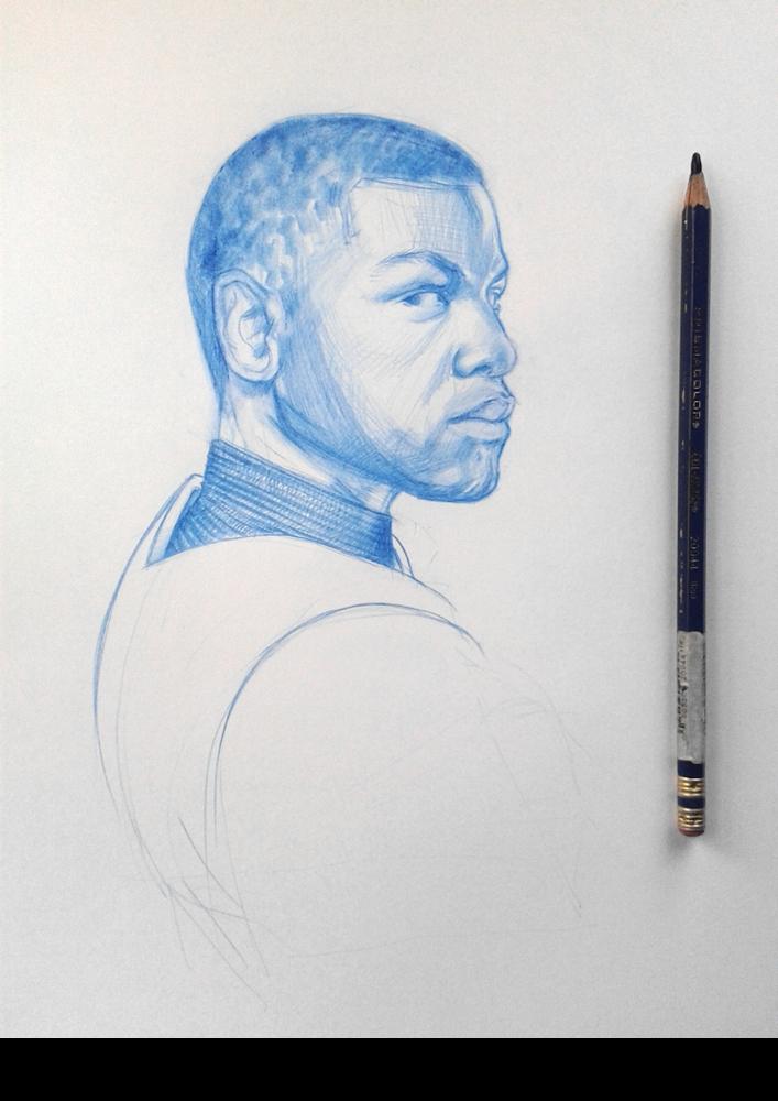 Image of John Boyega as Finn - original drawing