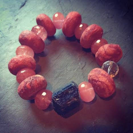 Image of Raw Tourmaline and Raw Coral with Agate and Crystal Amplifying Quartz Bracelet