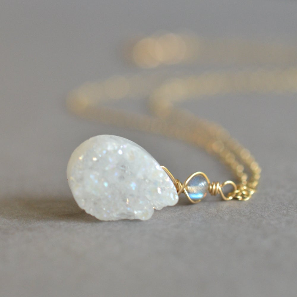 Image of White druzy teardrop necklace