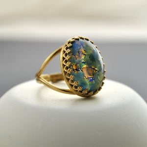 Image of Adira - Green And Blue Fire Opal Ring