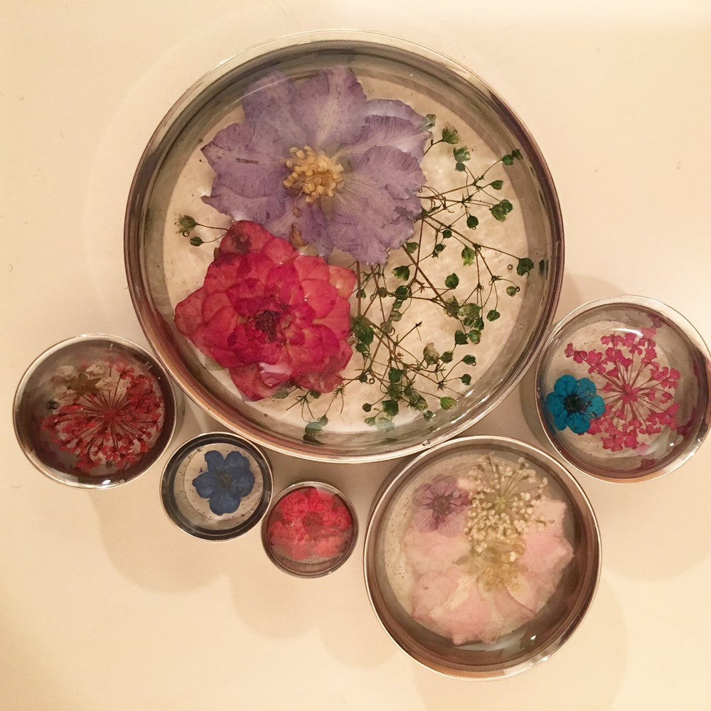 "Image of Real Pressed Flower Plugs (sizes 0g-2"")"