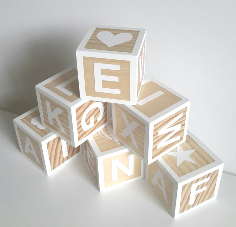 Image of Multi-sided Natural Timber Pine Letter Blocks