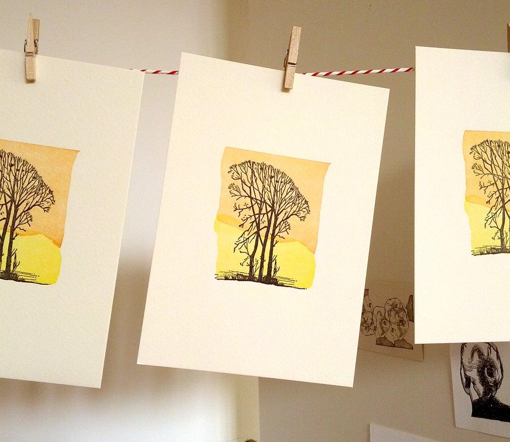 Image of A6 Winter Tree letterpress print