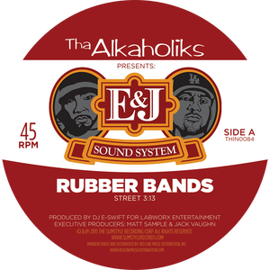 "Image of THA ALKAHOLIKS PRESENTS: E&J SOUND SYSTEM ""RUBBER BANDS"" 7"" (Beer Colored - Limited to 500 pieces)"