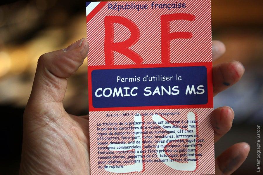 Image of Permis d'utiliser la Comic Sans MS