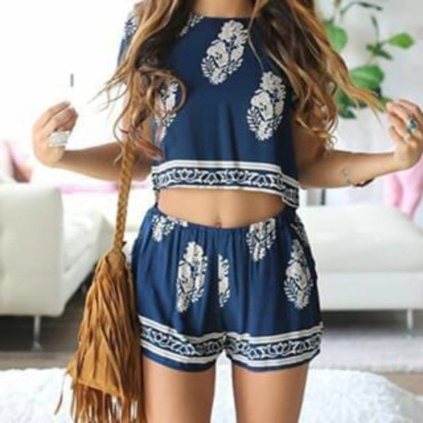 Image of CUTE BLUE FLOWER TWO PIECE ROMPER