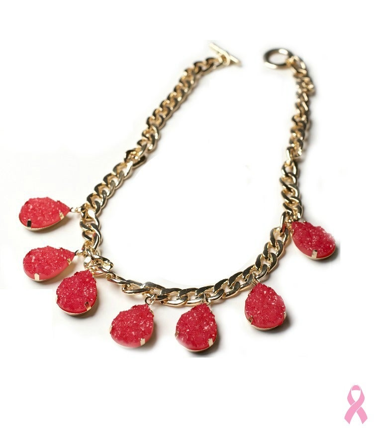 Image of Pink Druzy Curb Chain Necklace