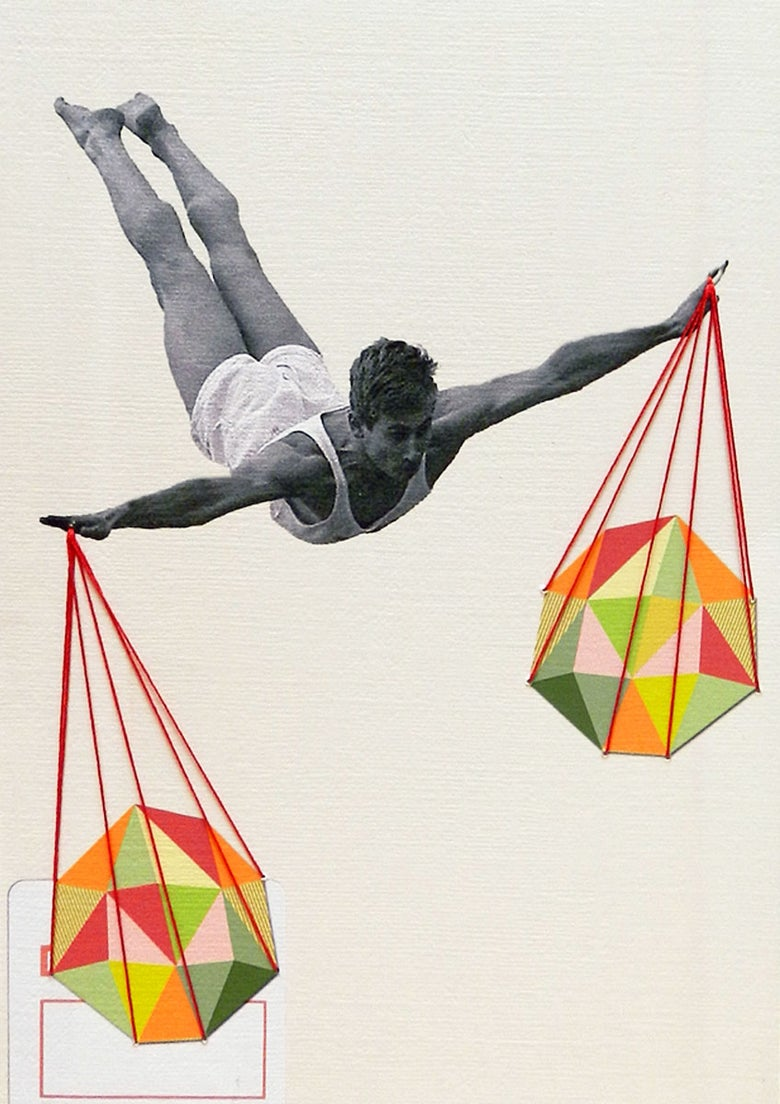 "Image of Original hand embroidered collage: ""Balance"""