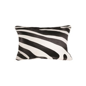 Image of 676685025616 Natural-TORINO-COWHIDE-PILLOW-ZEBRA- BLACK ON OFF-WHITE