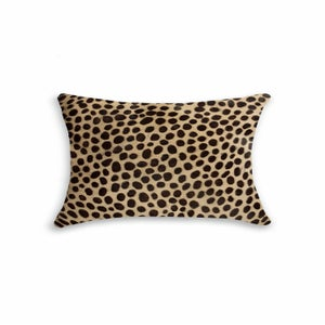 Image of 676685025630 Natural-TORINO COWHIDE PILLOW 12X20 CHEETAH