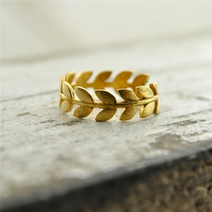 Image of Laurel - Gold Leaf Band Ring