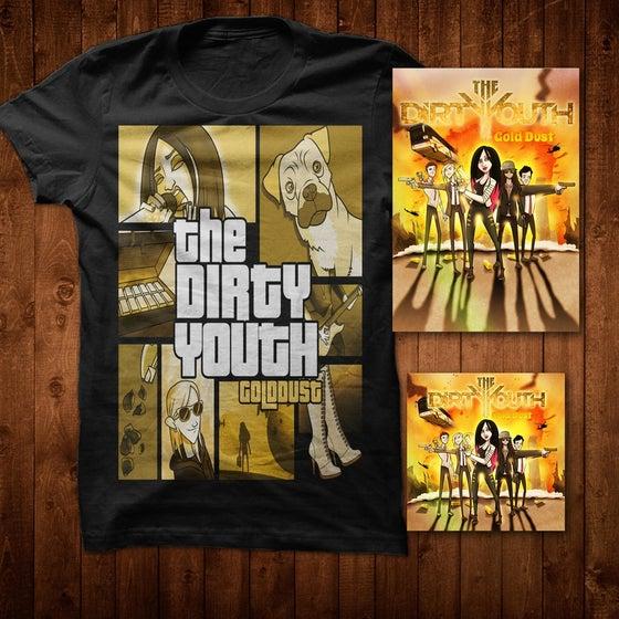 Image of Gold Dust Album + Print + GTA T Shirt Bundle 2