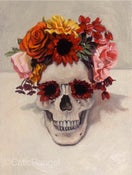 Image of Original oil painting - Skull with Flowers 5x7