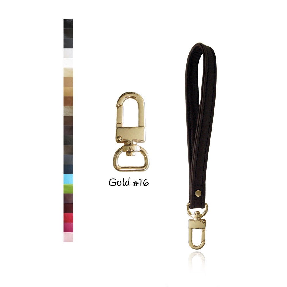Image of Leather Wristlet Strap with GOLD #16 Swivel Snap Hook - Your Choice of Leather & Width